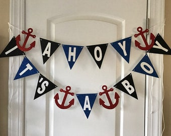 AHOY IT'S A BOY banner, ahoy its a boy banner, nautical baby shower decor, ahoy it's a boy decorations, ahoy its a boy baby shower, baby boy