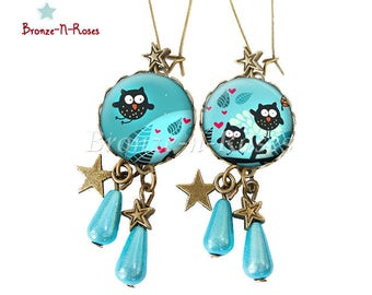 Earrings * Moonlight OWL * blue bronze nugget red heart cabochon