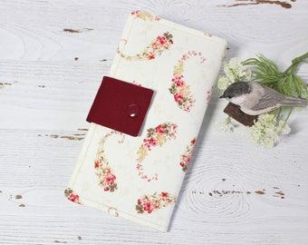 Womens wallet in mini rose swirls, Bifold womans wallet, credit card wallet, handmade wallet, checkbook wallet, slim travel wallet
