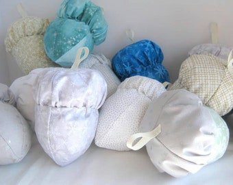 Winter Cloth Acorn Ornaments Set of 3,  Three Fabric Acorn Ornies, Stuffed Acorn Ornaments