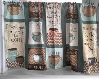 """Java Coffee cups Valance Curtain 42"""" W x 22""""L"""