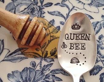 Queen Bee. Hand Stamped Bee Lovers Spoon - Queen, royal, luxury, honey, spoon to stir your coffee or tea