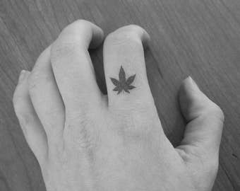 9 small leaves of cannabis / marijuana / weed / temporary tattoos / tattoo / fake tattoo / black.
