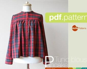 PDF sewing pattern. Women Gathered blouse -Pancake- (size 34-48)