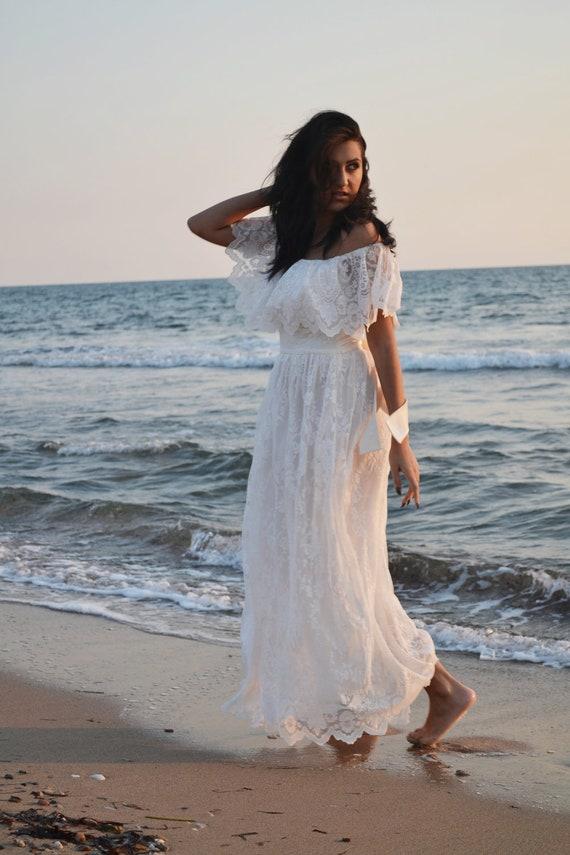 Ivory Wedding Dress Beach Wedding Dress Bohemian Wedding Gown
