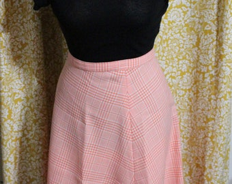 Vintage Peach/Orange White Plaid Polyester Skirt Plus Size