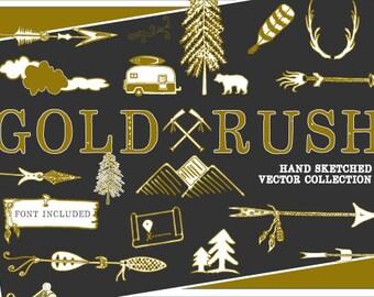 GOLD RUSH Vector Illustrations & Font - Digital Download - Wild Outdoors - Gold Arrows - Camping - Nature Kayak - Mountains - Handmade Font