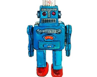 Limited Edition Vintage Robot Giclee Print
