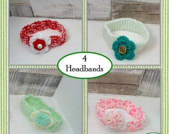 4 Festival Headbands, Flower Headbands,  Crochet Headband, Hair Accessary, Crochet Hair Accessary, Ladies Headband, Hippy Headband, Headband