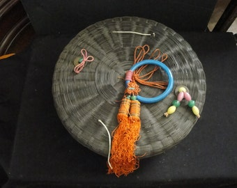 Antique Chinese Wicker Sewing Basket w/ Colorful Jade Beads and Peking Glass Ring