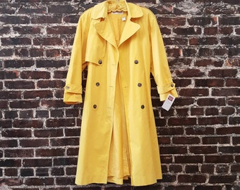 1980s Yellow Trench Coat, Cotton Rain Coat.  Oversized 80s Asymmetrical Design, Bright Colorful Belted Jacket by JH Collectibles.