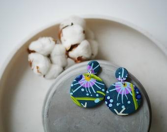Statement jewelry, circle earrings, green earrings, large statement earrings, lightweight earrings, polymer clay earrings, big earrings