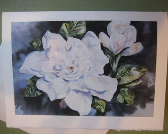 Gardenias, Note Card, 5 x 7,Greeting Card, Blank, flower, garden, Florida, white, fragrant, black