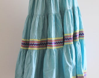 Traditional Vintage Teal Mexican Circle Skirt
