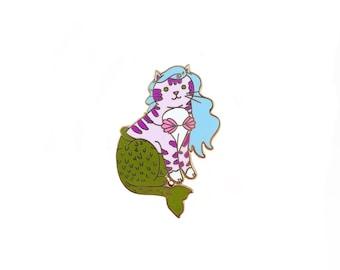 Mermaid Cat Enamel Pin - Mercat  enamel pin - cat mermaid - Mermaid enamel pin - Cute Cat enamel Pin - lapel pin hat pin