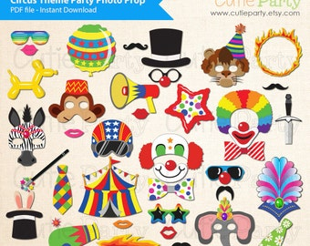 Circus Party Booth Prop, Circus theme party Photo Booth Prop, Circus animal, clowns