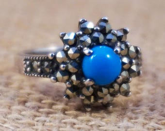 Victorian Revival Persian Turquoise and Marcasite Sterling Silver Ring Antique Style