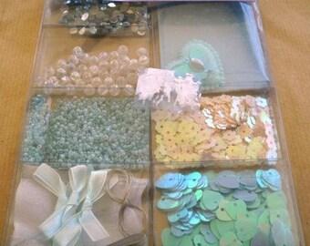 Set of embellishments for scrapbooking, blue tones