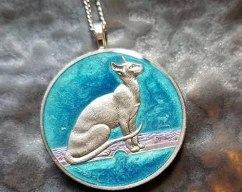 Isle of Man - Siamese Cat Coin Pendant - Hand Painted