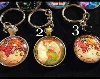 Cabochon Silver Gold Keychain Glass Metal Travel Zen Namaste Tree of Life