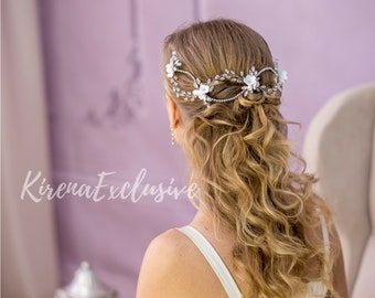 White bridal hair flower piece Ivory bridal headpiece Wedding hairpiece Wedding hair flower accessories Wedding hair piece flower crown