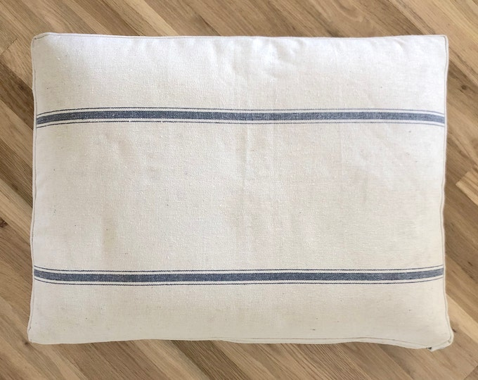 Grain Sack Dog Bed with Navy Stripe // Quick Ship // Extra Large
