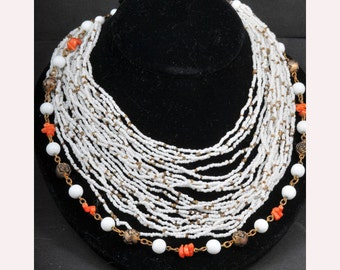 Miriam Haskell Mid Century Seed Bead & Coral Necklace - Signed