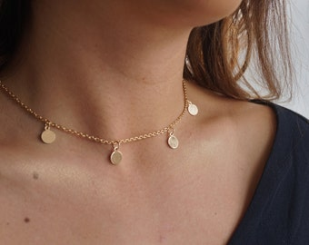Coin Choker Necklace, Coin Choker, Gold Disc Choker, Boho Choker, Coin Charm Choker Bohemian Necklace, Gold Coin Chain Choker Jewellery