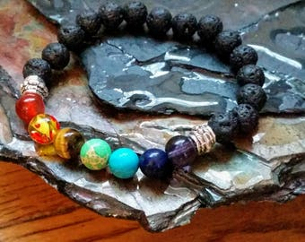 7 Chakra Healing 8mm Diffuser Bracelet with Lava Beads