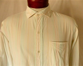 Jeffrey Banks vintage 80's white collar shirt pastel rainbow vertical stripes pale pink yellow turquoise long sleeve button up Large