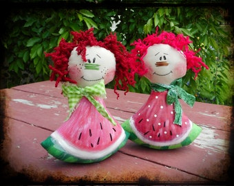 Whimsical Watermelon Rag Doll Primitive Folk Art Cloth Doll Raggedy Ann Summer Decor Shelf Tuck Gift