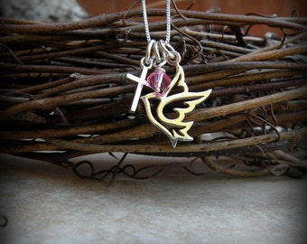 Dove and Cross necklace, Confirmation necklace,