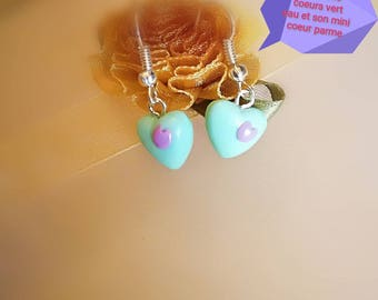 Watery green 3D hearts with his little lilac heart mounted on dangling earrings