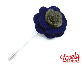 FLOWER LAPEL PIN: Royal Blue and Gray Microfiber Rose. Custom Mens Handmade Wedding Boutonniere, Brooches, Lovely Lapels