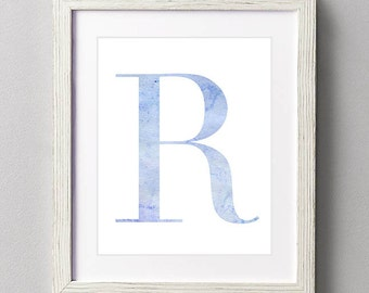 Letter R | Nursery Print | Nursery Art | Alphabet | Instant Download | Digital Print | Wall Art | Baby Boy | Initials | Blue | Watercolor