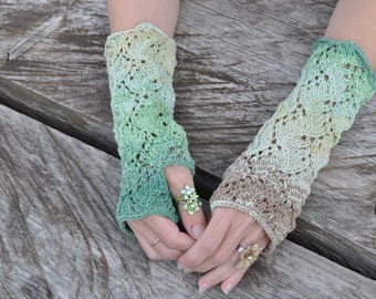 Knitted mittens, Leafy green mittens, Knitted lace mittens, Knitted vine motif mittens, Elven mittens, hippie gypsy boho accessory
