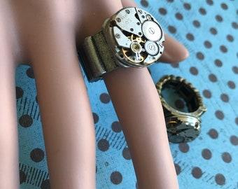 Birthstone Jewelry, Steam Punk, Steampunk Ring, Women's Jewerly, Steampunk Jewerly, Watch, Rhinestones, Woman, Watch Part,  Gift Idea