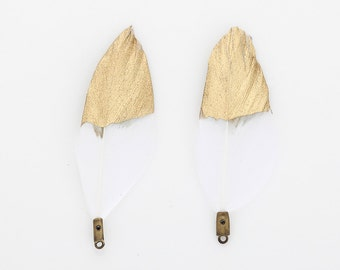 White Duck Feather with Gold Dipped 50mm - 2 Pieces [P0432-WG]