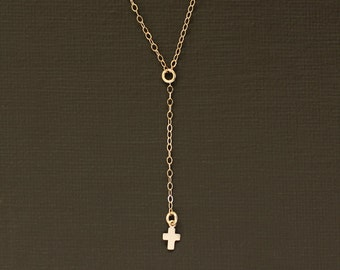 Delicate Rosary Y Necklace with Tiny Cross Charm
