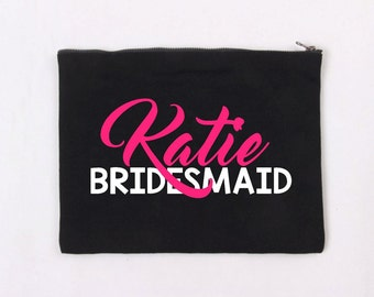 Personalised Canvas Makeup Bag, Cosmetic Bag, Great Gift - Birthdays, Bridal, For Her, NZ made, Maid of Honour, Bridesmaid, Gift for Her