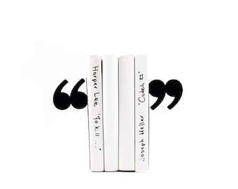 Decorative Bookends - Quotation marks - // unique book holders for modern home // housewarming gift // FREE  SHIPPING