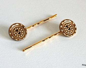Gold Button Hair Pins, Brass Tone Hair Pins, Gold Hair Pins, Button Hair Pins, Hair Accessories, Decorative Hair Pins, Gold Bobby Pins