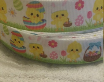 "3 yards, 7/8"" grosgrain ribbon easter design"