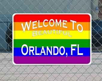 RAINBOW Welcome to ORLANDO FL Metal Highway Sign glbt Road City State Gay Flag