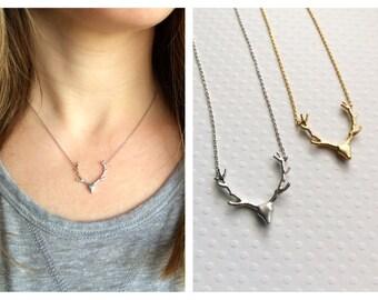 Antler Necklace Silver, Gold, Rose Gold - Antler Necklace Deer Antler Jewelry Reindeer Silver Deer Silver Antler Jewelry Tom Design