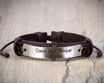 Custom Mens Leather Bracelet, Men's Personalized leather Bracelet, Engraved Bracelet, Genuine Leather Cuff, Wedding Date Bracelet,