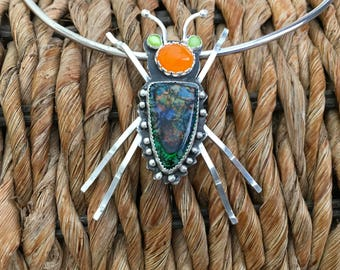 Sterling silver opal bug pendant.