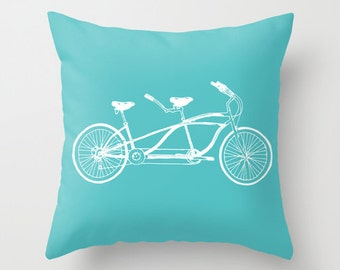 Tandem Bike Pillow  - Graphic Novelty Throw Pillow - Sports Bicycle Decorative Pillow  -  Modern Home Decor - By Aldari Home