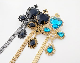Crystal Heart Ouji Brooch with Chain for Lolita, Gothic, Aristocrat