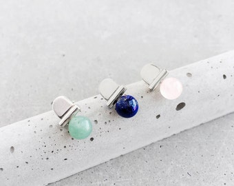 Gemstone Arch Studs / sterling silver / architectural gemstone jewelry / rose quartz, lapis, malachite, aventurine